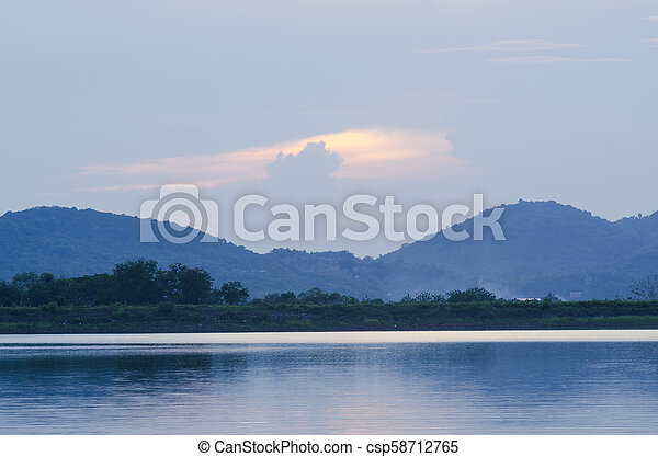 Lake in the mountains of Thailand - csp58712765