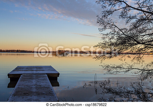 Lake in the sunset - csp18679822