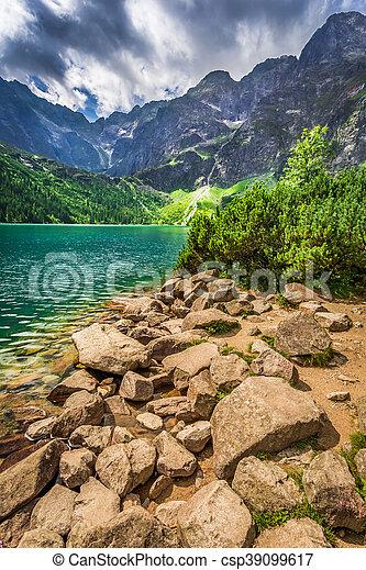 Lake in the Tatras mountains at sunrise, Poland - csp39099617