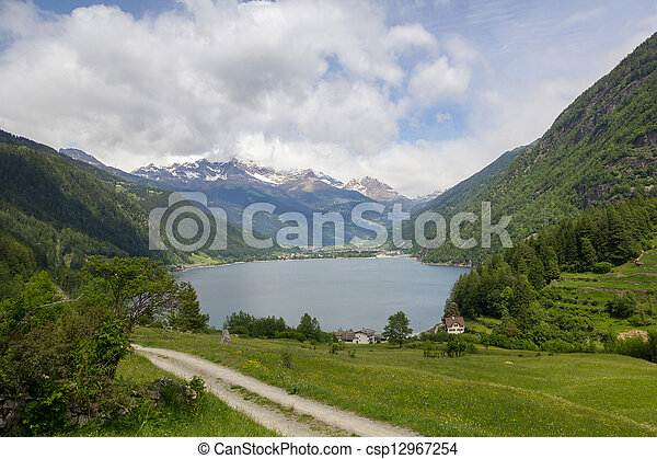 lake Lago di Poschiavo swiss - csp12967254