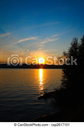 lake landscape with sunset - csp2617101