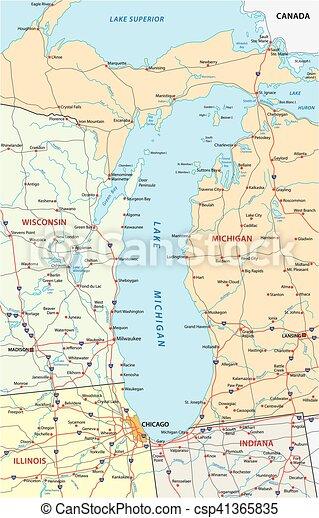 lake michigan map - csp41365835