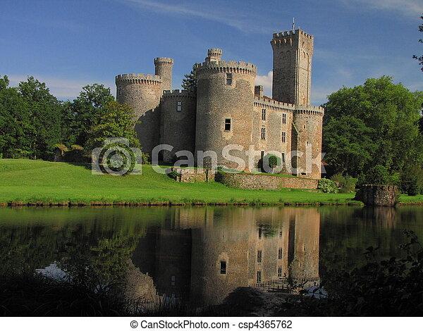 Lake, Montbrun Castle, tower - csp4365762