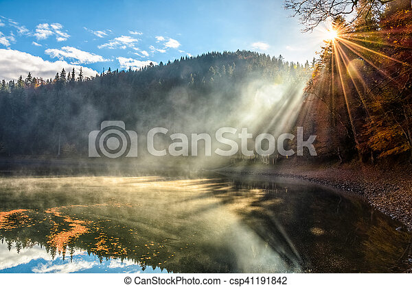 lake near the foggy pine forest in mountains - csp41191842