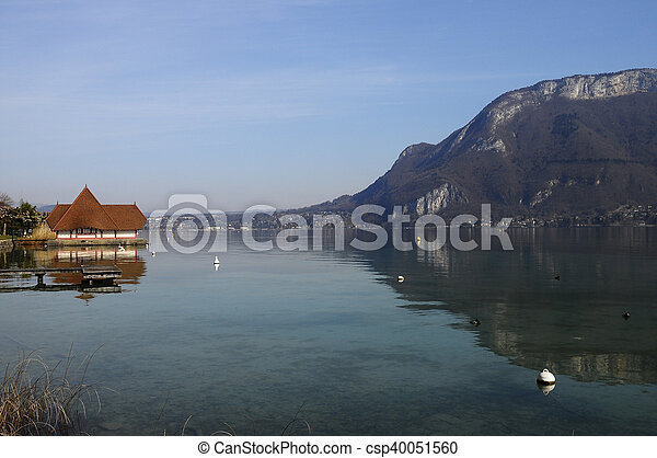 Lake of Annecy in france - csp40051560