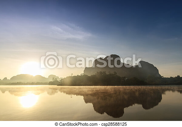 lake on the morning - csp28588125