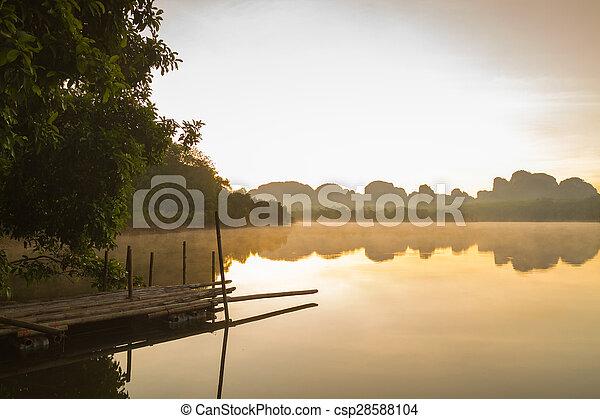 lake on the morning - csp28588104
