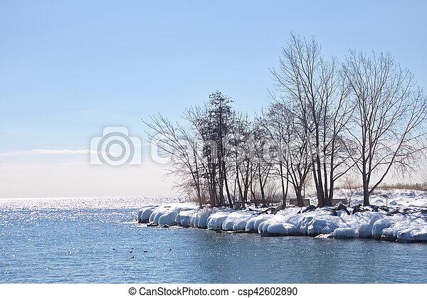 Lake Ontario frozen shoreline - csp42602890