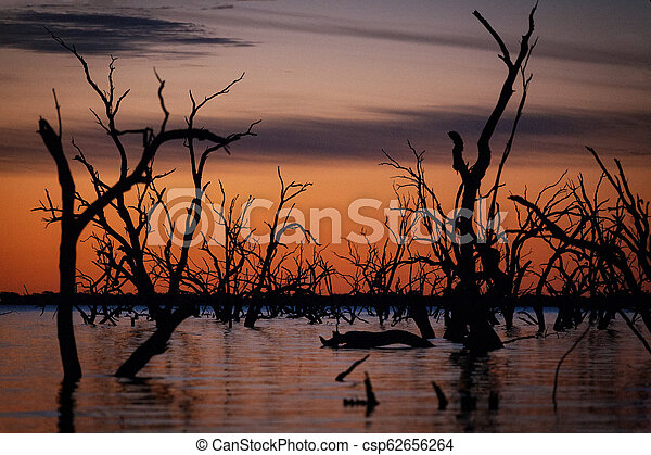 Lake Pamamaroo in the outback sunset - csp62656264