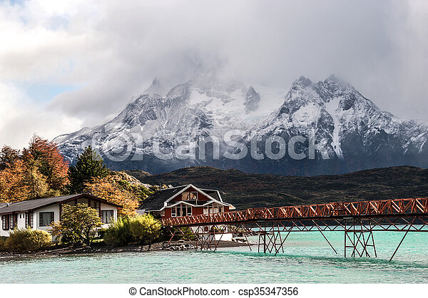 Lake Pehoe, National Park Torres del Paine, Chile - csp35347356