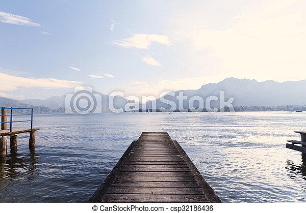 Lake pier - csp32186436
