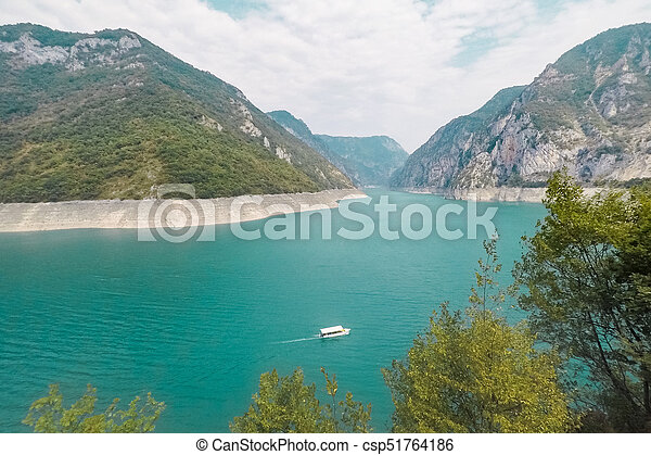 Lake Piva in the mountains - csp51764186