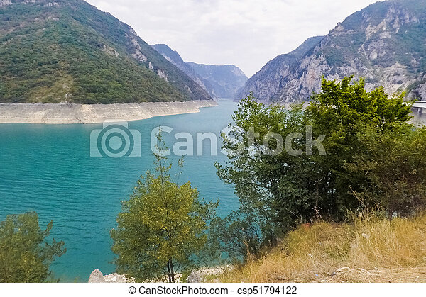 Lake Piva in the mountains - csp51794122