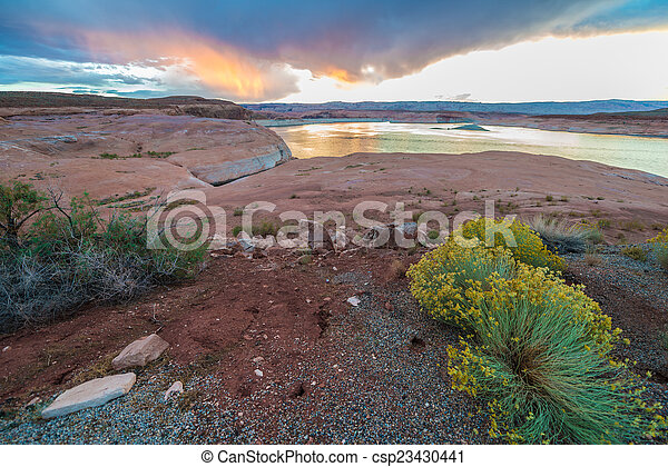 Lake Powell at Sunset Taken From Halls Crossing - csp23430441