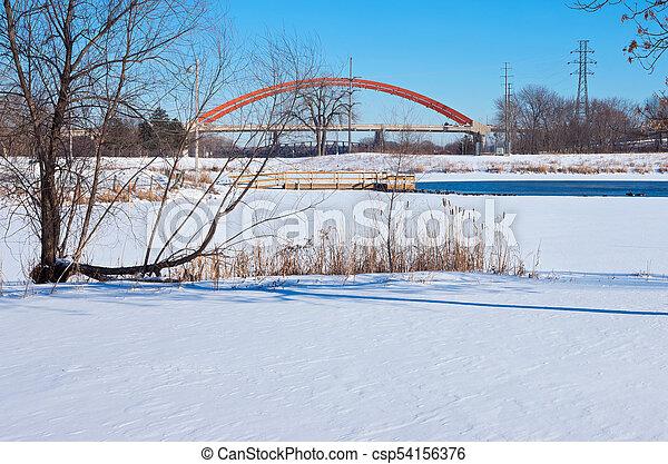 Lake Rebecca Park and Bridges in Hastings - csp54156376