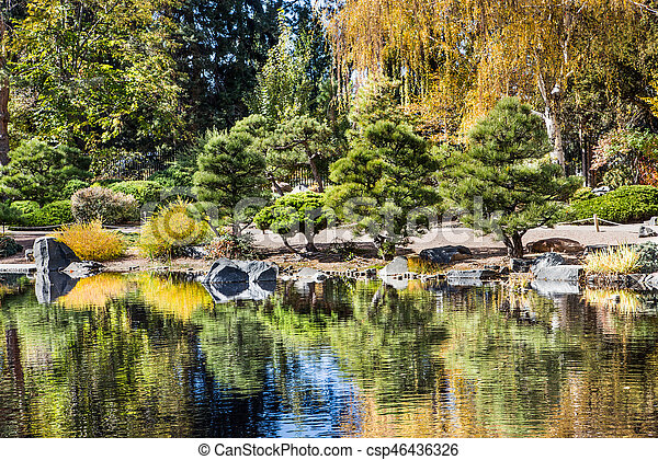 Lake Reflecting Nice Garden Evergreen Trees Reflected In Calm
