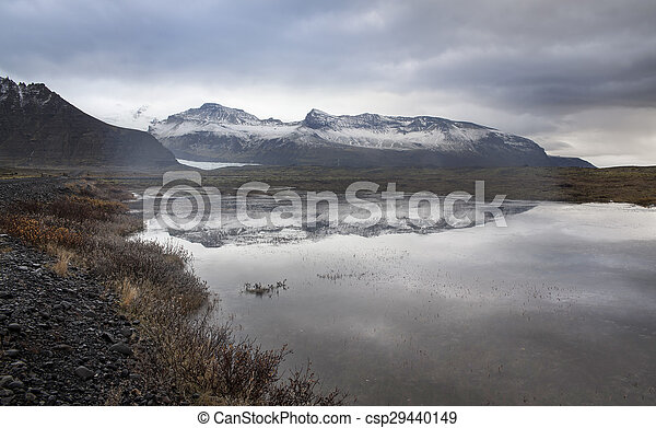 Lake, Snow Mountain, Countryside in Iceland. - csp29440149