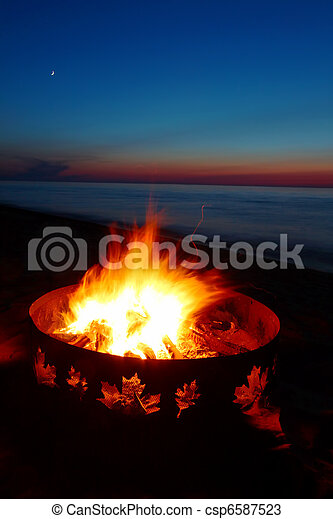 Lake Superior Beach Campfire - csp6587523