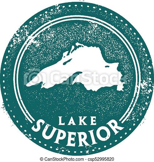 Lake Superior Travel Stamp - csp52995820