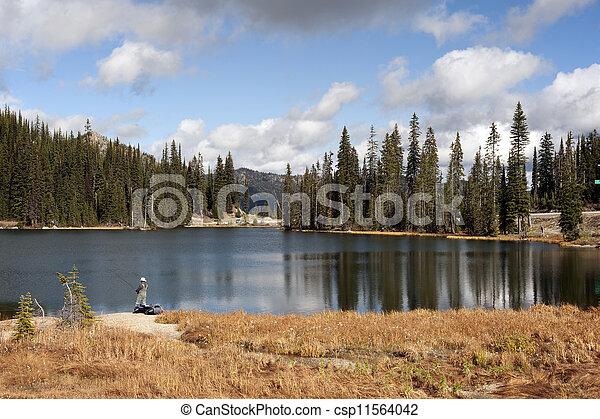Lake with a fisherman ( Summit Lake in Kootenay Pass) - csp11564042