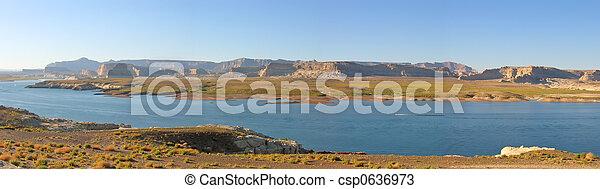 Lake with flat mountains, Lake Powel National Park, United States, Panorama - csp0636973