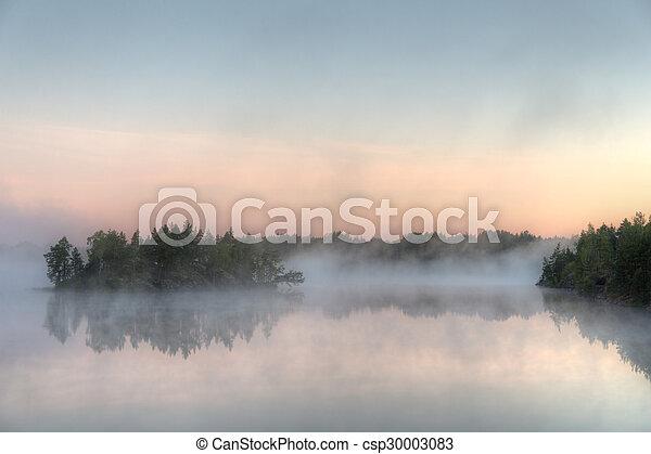 lake with morning fog - csp30003083