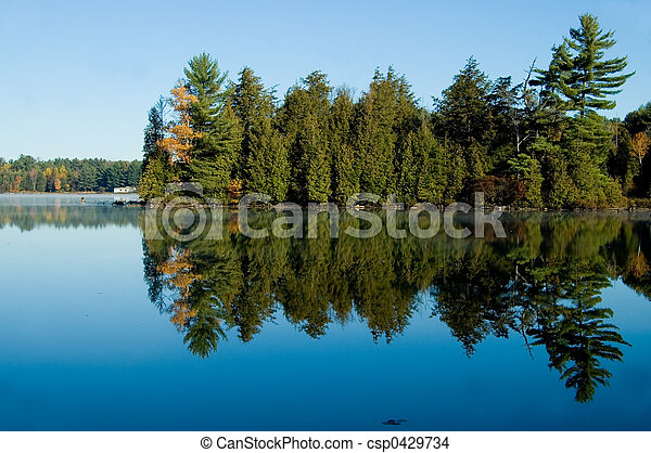 Lake with Pine Trees - csp0429734