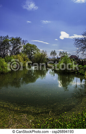 lake with reflections - csp26894193