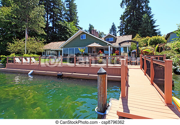 Lakefront green one story house with dock and large deck for Waterfront deck designs