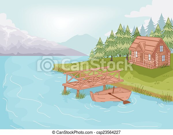 Lakeside Cabin Illustration Featuring A By The Lake Vector