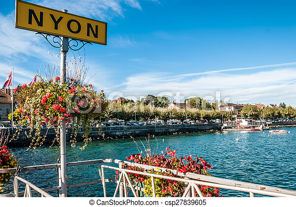 lakeside, nyon, suisse, signe - csp27839605