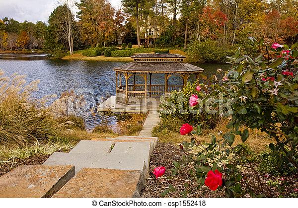 lakeside, roses, gazebo - csp1552418