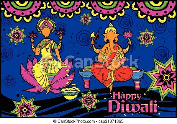 Lakshmi and Ganesha for Happy Diwali - csp31071365