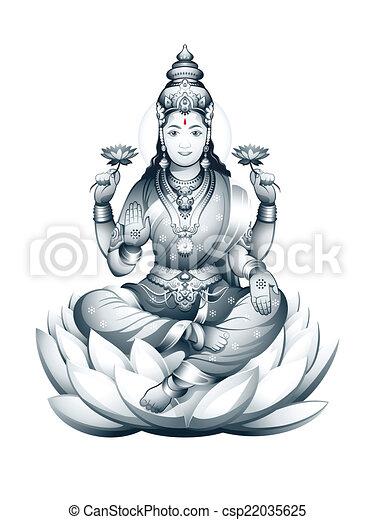 lakshmi, dea, indiano - csp22035625