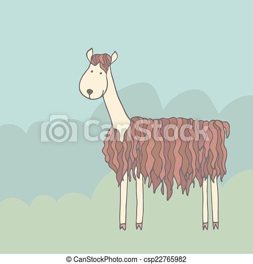Lama cartone animato divertente verde alpaca prato cartone