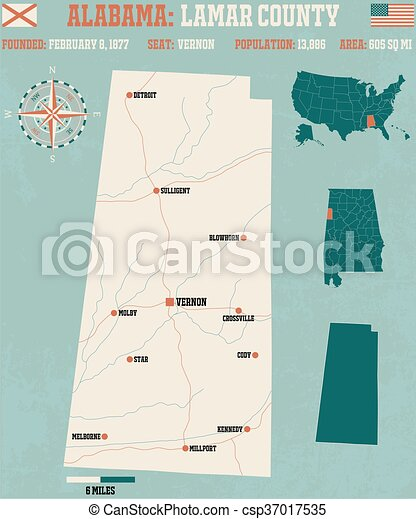 Lamar county in alabama usa. Large and detailed map and ...