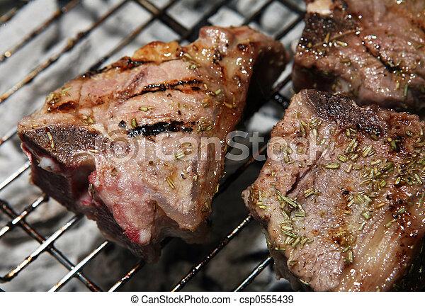 Lamb chop barbecue - csp0555439