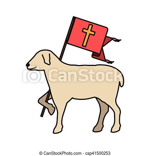 Lamb Of God Symbol Lamb Of God Christian Symbol Icon Over White