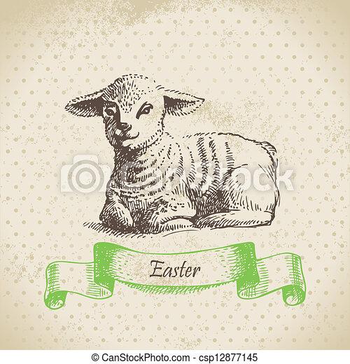 lamb., ouderwetse , illustratie, hand, achtergrond, getrokken, pasen - csp12877145