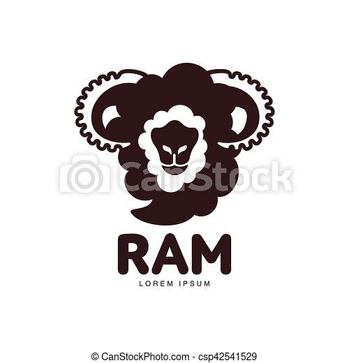 Lamm Kopf Grafik Silhouette Schafe Ram Schablone Front Logo