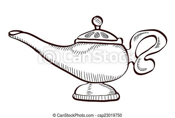 Dessin de la lampe d aladin design de maison - Coloriage d aladin ...