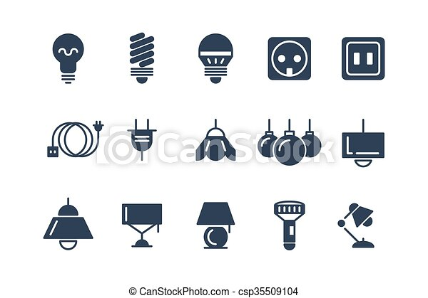 Lamp And Bulbs Black Vector Icons Set Electrical Symbols Bulb