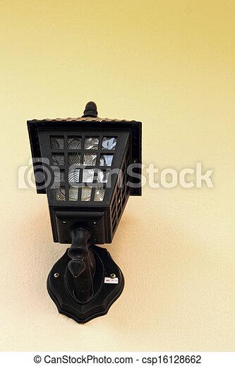 Lamp black wall - vintage style. - csp16128662