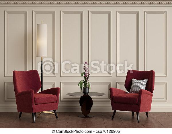 Interior clásico con sillón y lámpara de suelo. Colores cálidos - csp70128905