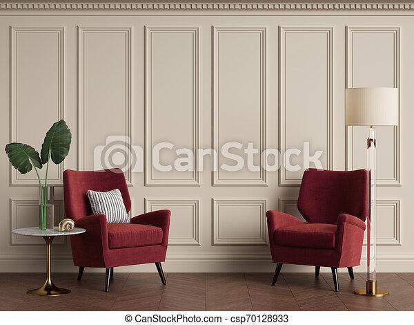 Interior clásico con sillón y lámpara de suelo. Colores cálidos - csp70128933