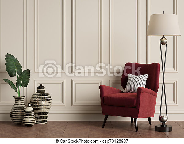 Interior clásico con sillón y lámpara de suelo. Colores cálidos - csp70128937
