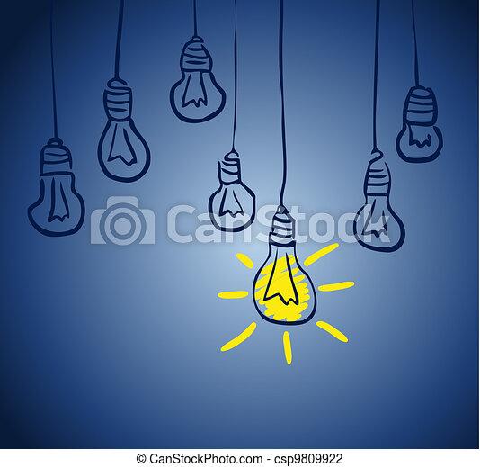 lamp., concept, idée, innovateur - csp9809922
