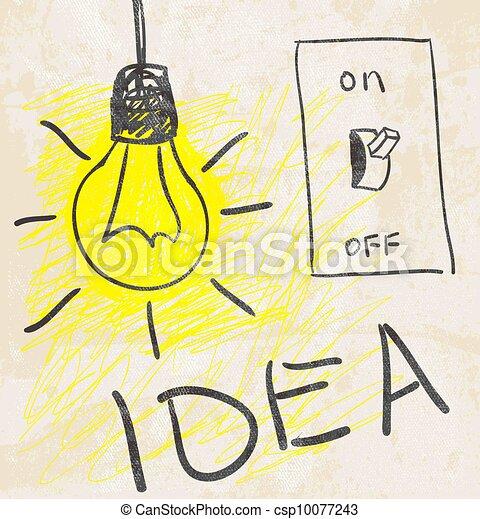 lamp., concept, idee, vernieuwend - csp10077243