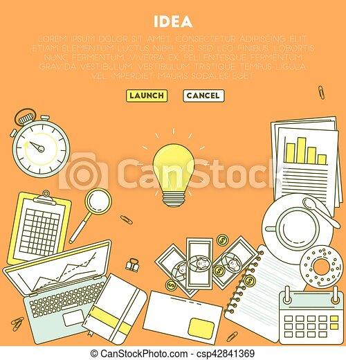 lamp idea illustration business analytic illustration with laptop