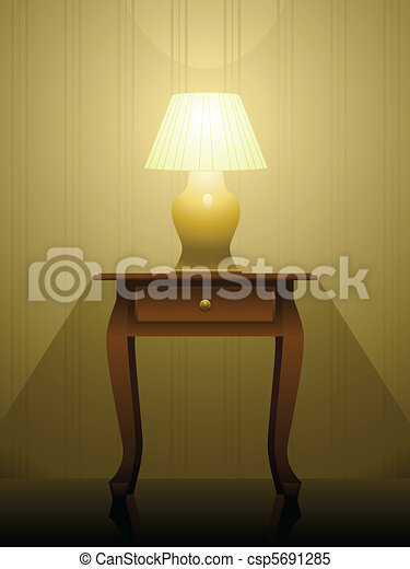 Lamp On A Table Lit Lamp Sitting On An End Table